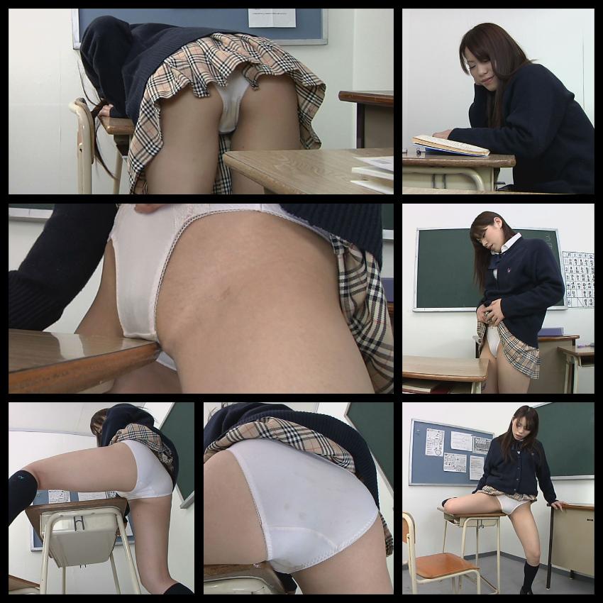 スカマニ女子高生JKが教室の机で染みパン脱糞お漏らし角オナニー!